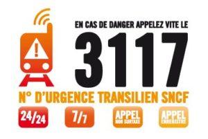 3117 Numéro d'appel d'urgence Transilien SNCF