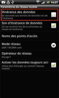 Désactiver l'échange de data mobile et internet à l'étranger sur Android 4