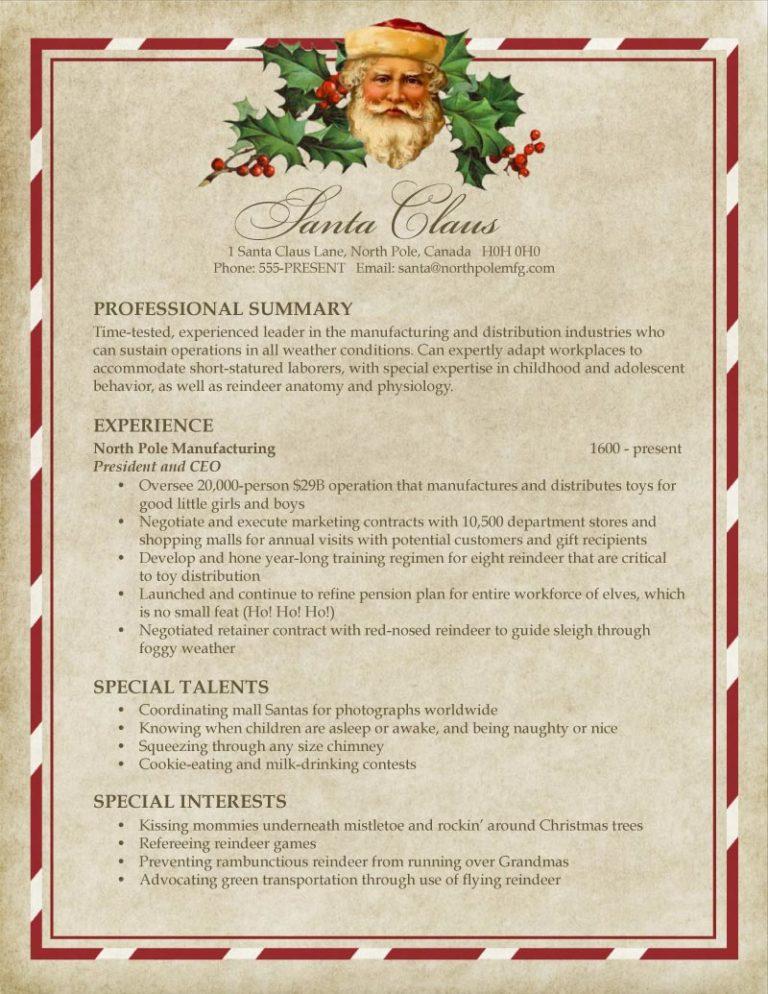 Le CV du Père Noël