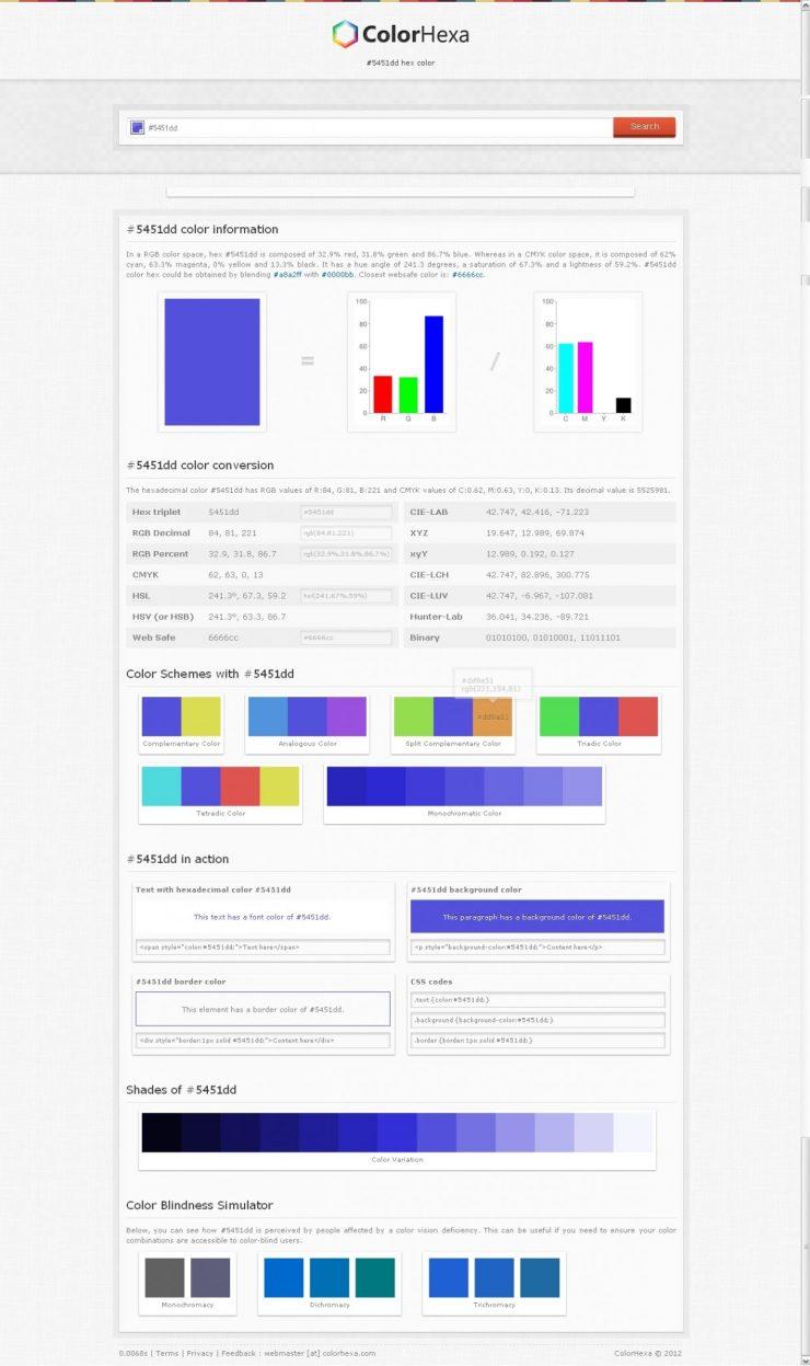 Profil colorimétrique d'une couleur