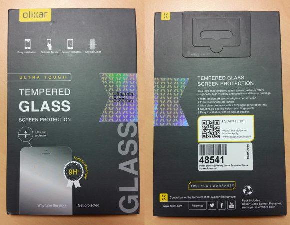 Emballage de la protection d'écran pour Samsung Galaxy Note 4 Olixar en verre trempé