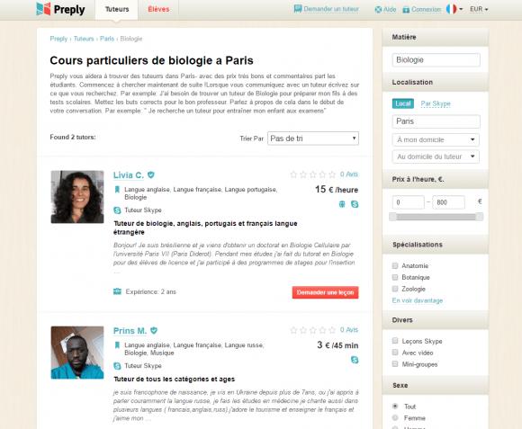 Preply - Fiche profil détaillé