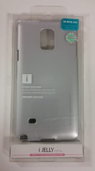 Coque Mercury Goospery iJelly Gel Argent Métal pour Samsung Galaxy Note 4 dans son emballage