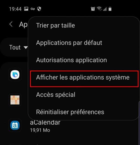 Paramètres afficher applications système Samsung