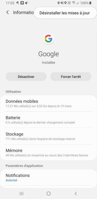 Désinstallation des mises à jour Google application Android